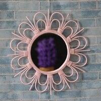 Nordic vintage french handmade bamboo rattan hanging wall mirror home decor sunburst mirror mid century makeup mirror antique