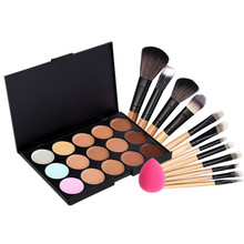 15 Colors Concealer Camouflage Makeup Palette + 12 pcs Makeup Brushes Sponge Puff Face contouring makeup set Cosmetics Kit