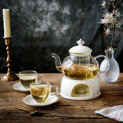 Ensemble de thé à fleur de Fruit bouilli nordique ensemble de thé anglais Simple après-midi ensemble de thé en céramique en verre bougie théière