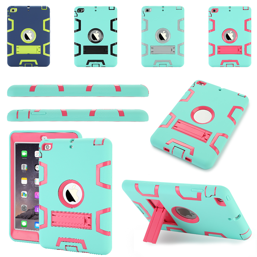 Tablet Case for Apple iPad MINI 1 2 3 4 Extreme Heavy Duty Dustproof Shockproof Rubber Cover with Stand for ipad mini silicone case soft tpu back case bottom case cover for 7 9inch apple ipad mini 1 2 3 4 tablet case for mini ipad