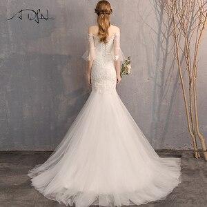 Image 2 - ADLN גבוהה באיכות התלקחות שרוול Applique חתונת שמלות Vestido דה Novia מתוקה תחרת בת ים הכלה שמלת שמלות לחתונה