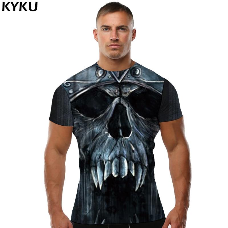 KYKU Skull T shirt Rainstorm Clothing Captain T-shirt Navigation Tops Hip-Hop Clothes shirts Men Print Summer Punk Homme