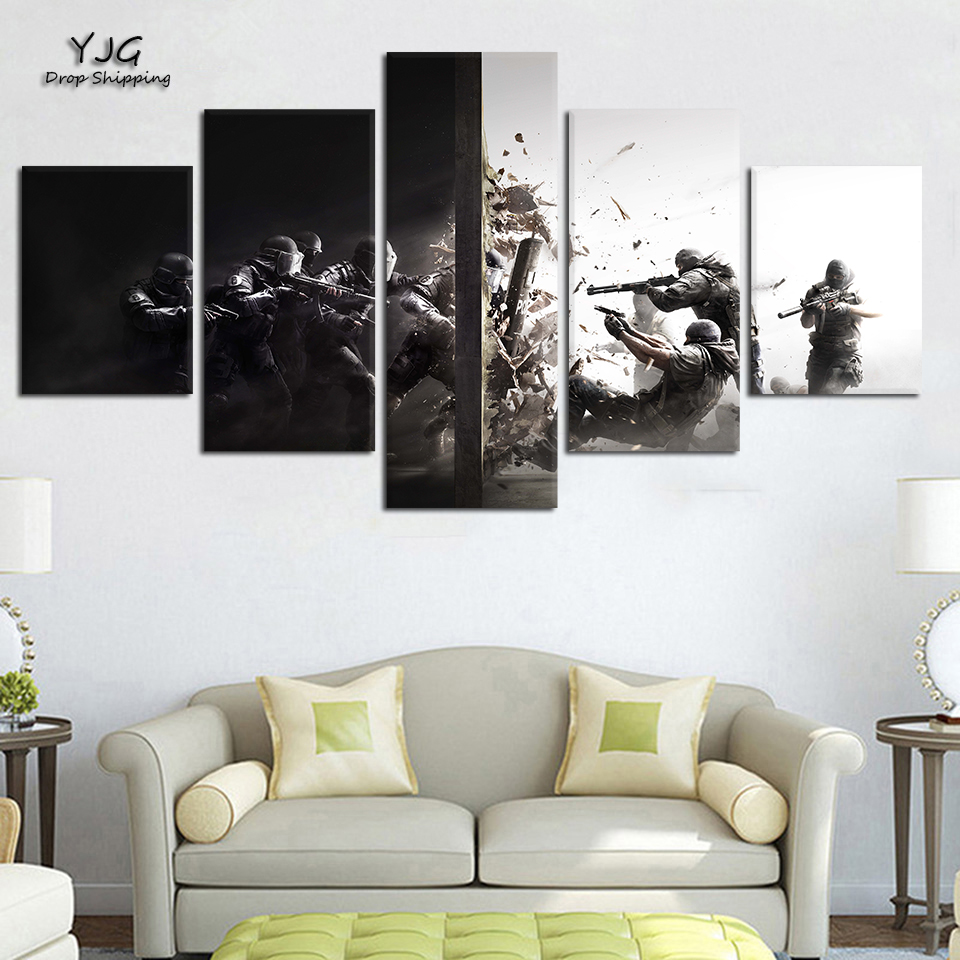 Modern Wall Art Canvas Painting Hd Prints 5 Panel Rainbow