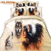 Indians and Wolves Bedding Set Native American Indian Wolf Duvet Cover Western Wild Animal Tribal 3D Bed Cover 3pcs Bedding Set