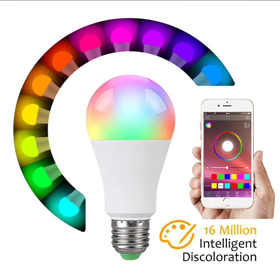 85-265V E27 LED Lamp RGB 15W Bluetooth APP Wifi Control Smart Bulb 10W RGBW RGBWW Light Bulb IR Remote Control Home Lighting (12)