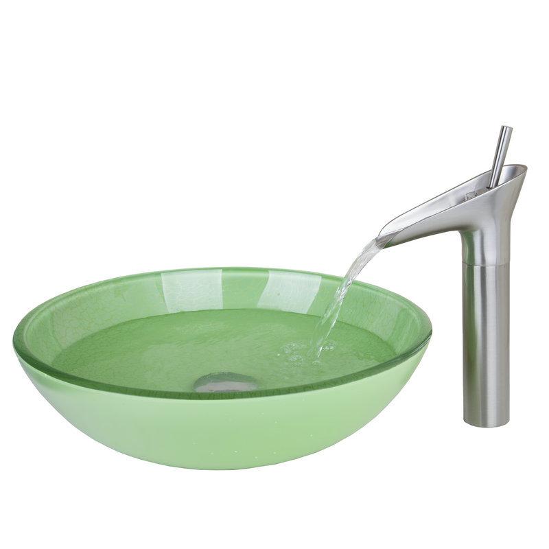 nquel cepillado bao grifo lavabo del bao de color verde redondo de vidrio templado lavabo del