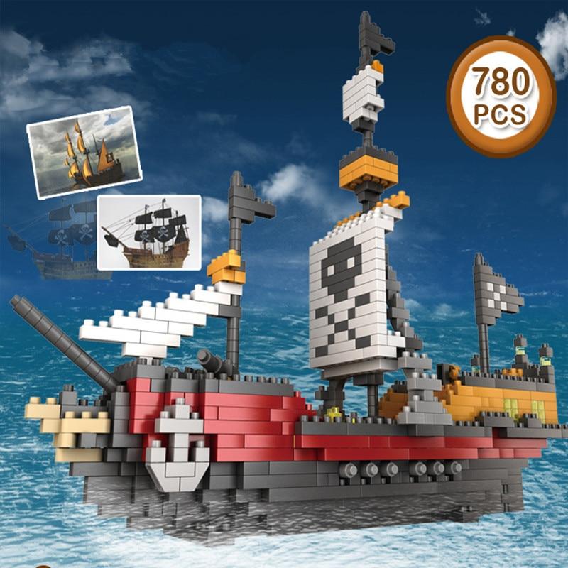 Model Building Blocks Pirates Ship 780pcs Black Pearl Building Blocks Sets Christmas Gifts Toys Miniature building blocks