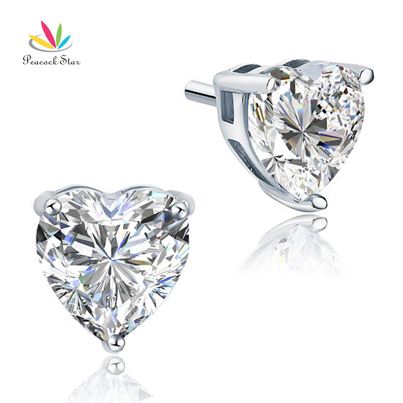 Peacock Star Bridal 4 Carat Heart Stud Bridesmaid Earrings 925 Sterling Silver Jewelry CFE8084 rhinestone heart shaped stud earrings page 4