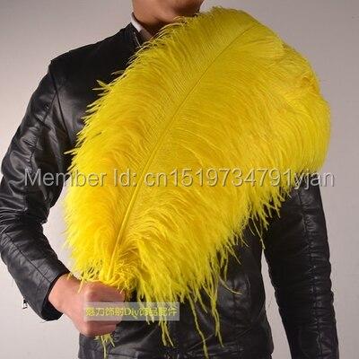En gros 50 pcs/lot haute qualité jaune autruche plumes 22 24 pouces/55 60 cm DIY bijoux décoration/célébration de mariage dans Plume de Maison & Jardin