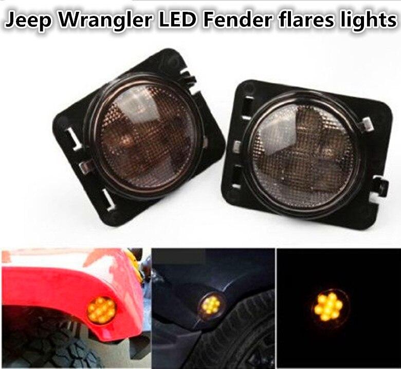 ФОТО LED Side Maker Lights for Wrangler Amber Front Fender Flares Parking Turn Lamp Bulb Indicator Lens Fender flares ligts