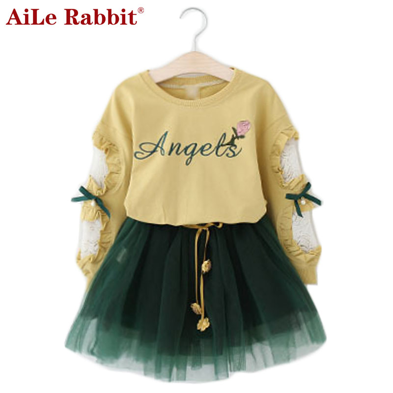 AiLe Rabbit New Girls Clothing Suit Long Sleeve T Shirt Yarn Skirt 2 Pcs Set Letter Flower Lace Bow Kids Autumn Suit k1 aile rabbit children s clothing suits for boys and girls classic camouflage outdoor suit autumn long sleeved shirt with pants