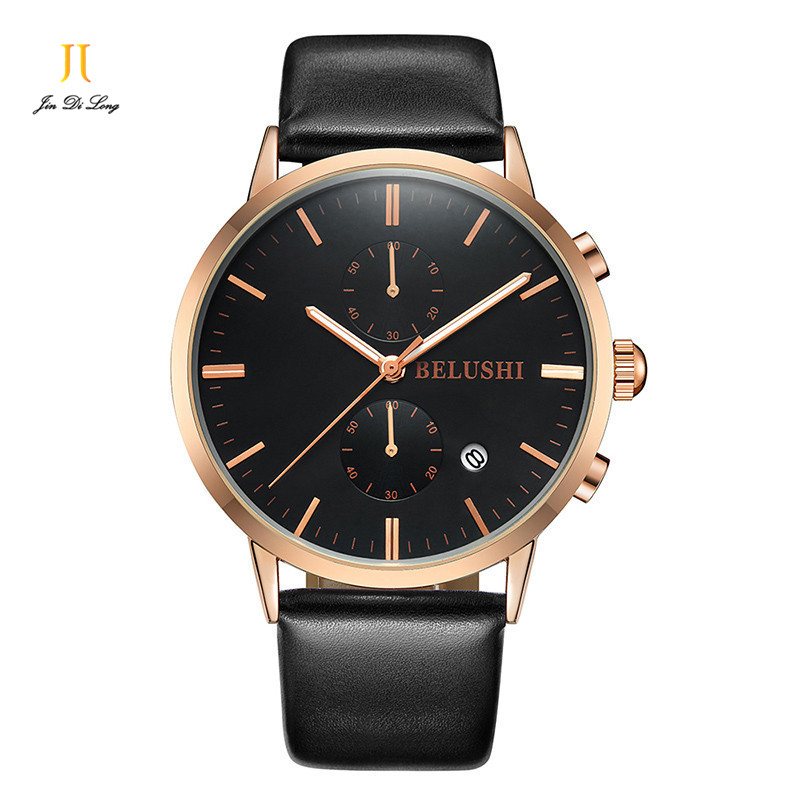 Men's Quartz Watches Unuine Leather Strap  Business Round Waterproof Watches Stainless Steel Alloy Dial window hardlex watches vik max adult kids dark blue leather figure skate shoes with aluminium alloy frame and stainless steel ice blade