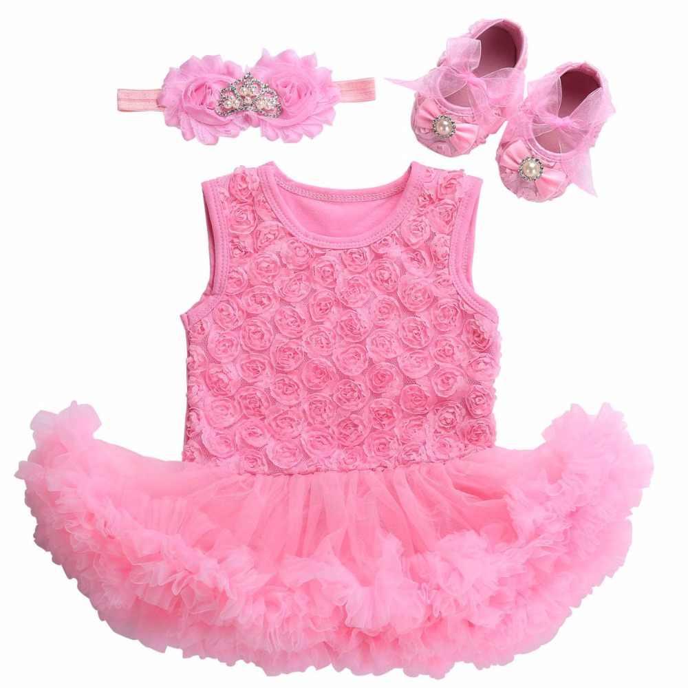 53efb1f2c13d Wedding Baby Girl Dress Set Birthday Shoes Headband,Kiz Bebek Giyim Bebe Newborn  Baby Girl