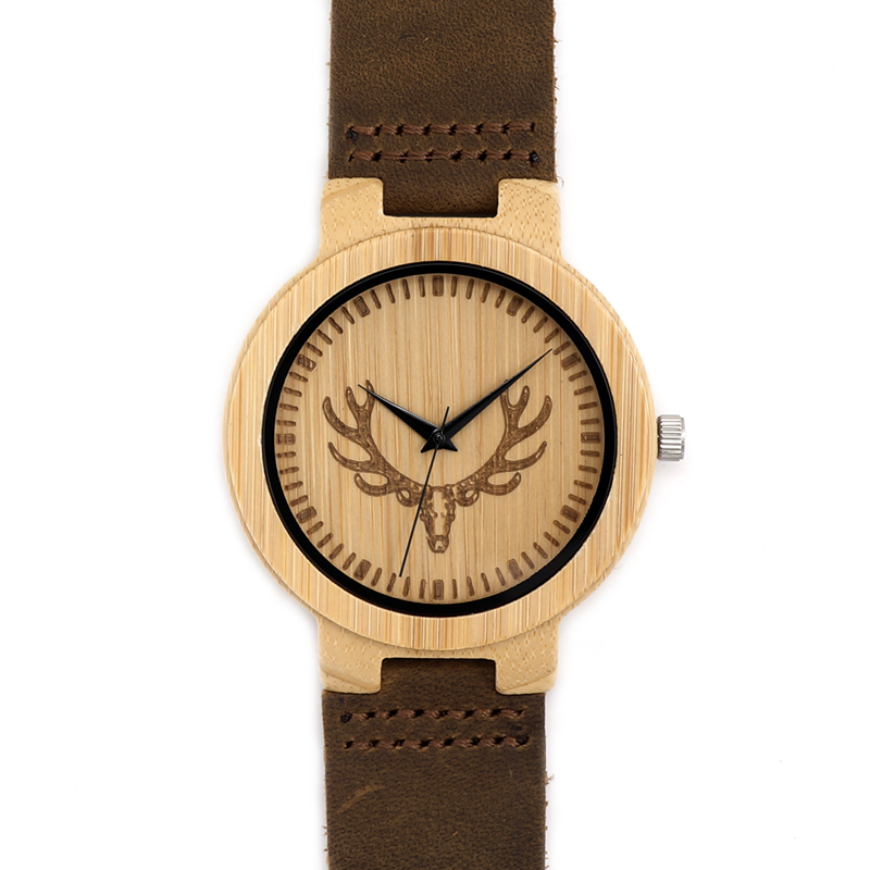 BOBO BIRD New Luxury Leather band Bamboo Watches Buck Head Handmade Quartz Wrist Watch Relogio Masculino Relogio C-D15