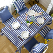 Blue striped tablecloth Rectangular table cover Living room party wedding decoration dining pad custom made