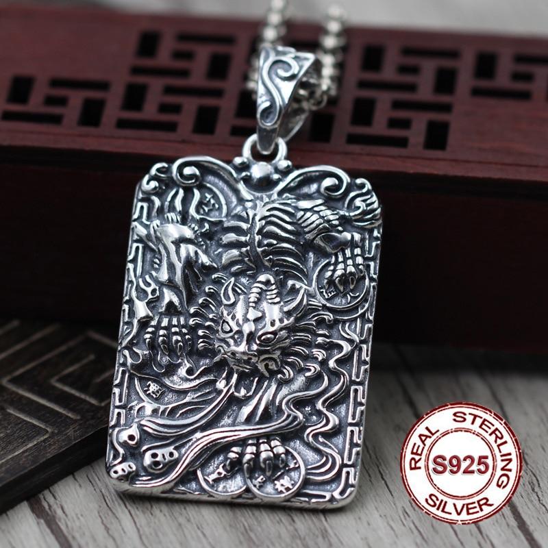 S925 sterling silver pendant jewelry Classic retro men