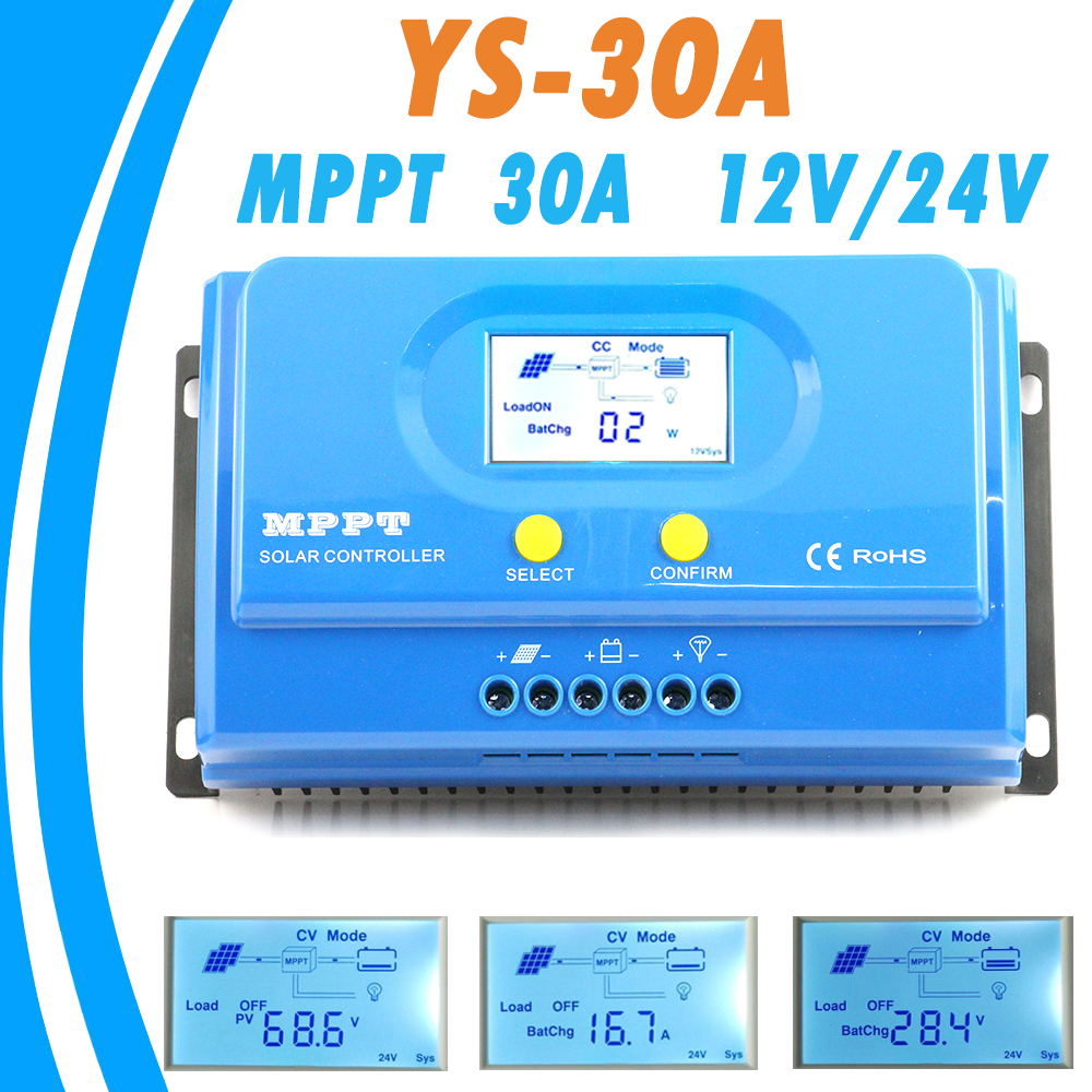12V/24V MPPT 30A Solar Charge Controller with Big Backlight LCD Display for Max 150V Input RS232 Communication Solar Regulators 12v 24v 36v 48v 70a mppt solar controller for max 150v lcd solar regulator with heatsink cooling rs485 communication port new