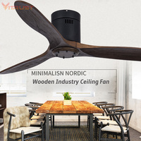 Indoor Ceiling Fan Modern Creative Ceiling Fan Light with 3 Wooden Blades and Remote Control Energy Saving LED Chandelier