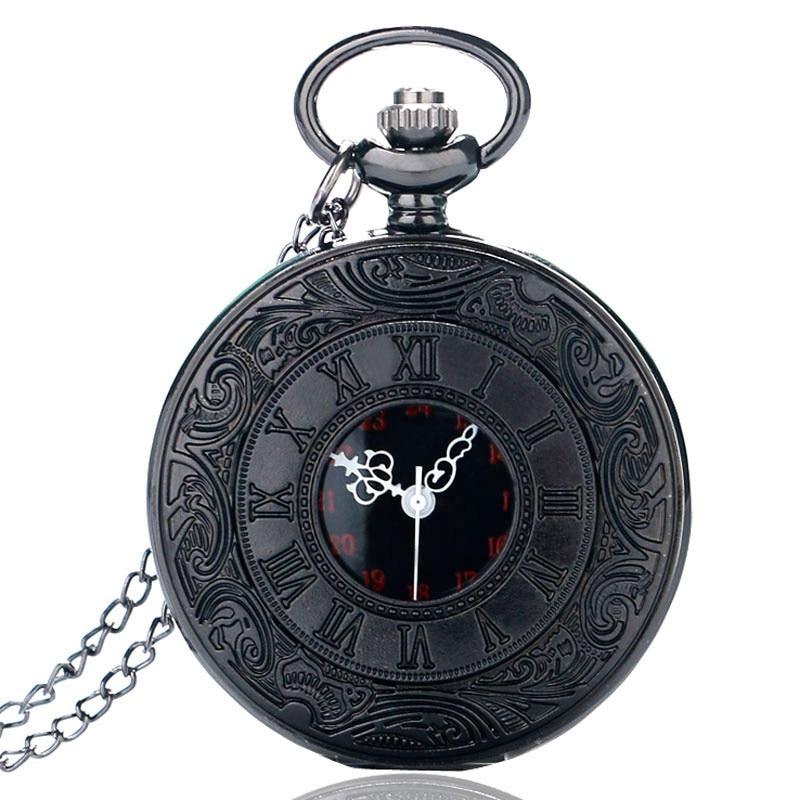Antique Style Roman Numerals Pocket Watch Men Women Black Hollow Case Quartz Steampunk Vintage Pendant Necklace Gift Cep Saati