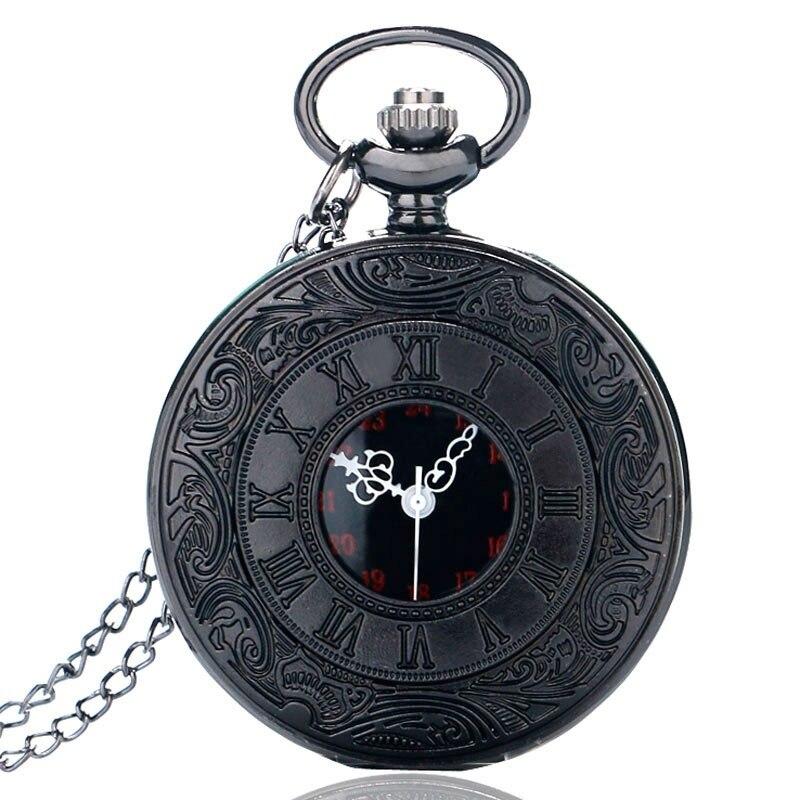 Antika tarzı romen rakamları cep saati erkekler kadınlar siyah içi boş durumda kuvars Steampunk Vintage kolye kolye hediye cep saati