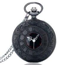 Estilo antiguo números romanos reloj de bolsillo hombres mujeres negro Funda hueca de Steampunk Vintage colgante collar regalo cep saati