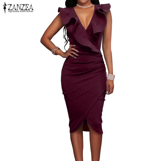 ZANZEA 2018 Women Summer Dress Sexy Sleeveless V Neck Pencil Party Dresses Ladies Ruffles Bodycon Slim Midi Club Vestidos 2