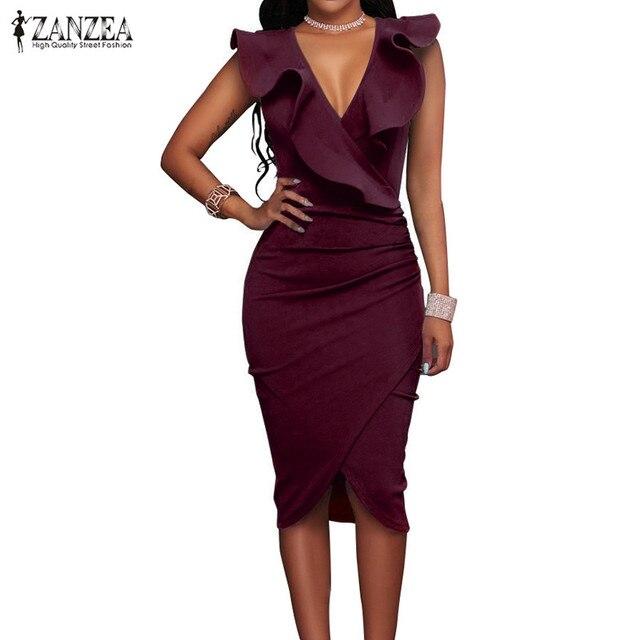 ZANZEA 2017 Femmes D'été Robe Sexy Sans Manches V Cou Crayon Partie Robes Dames Ruches Moulante Slim Midi Club Robes