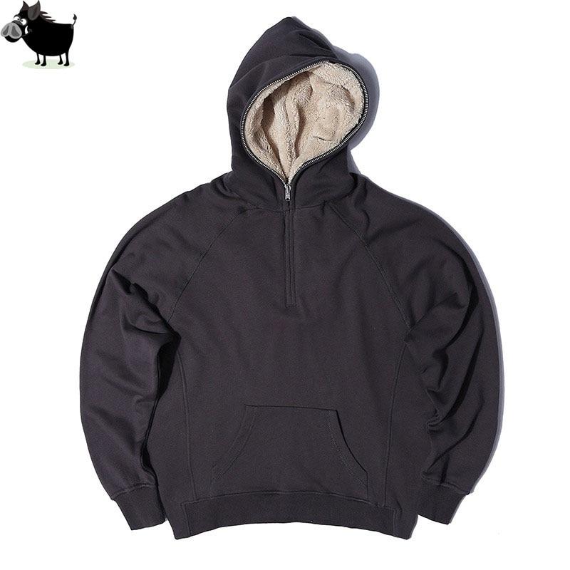 Man Si Tun Latest TOP Kanye West SEASON oversized pullover hoodie hip hop FEAR OF GOD HBA MEN Extended Middle Zip Sweatshirt мужская толстовка thumbholes zip kanye west tyga pyrex hba yeezus