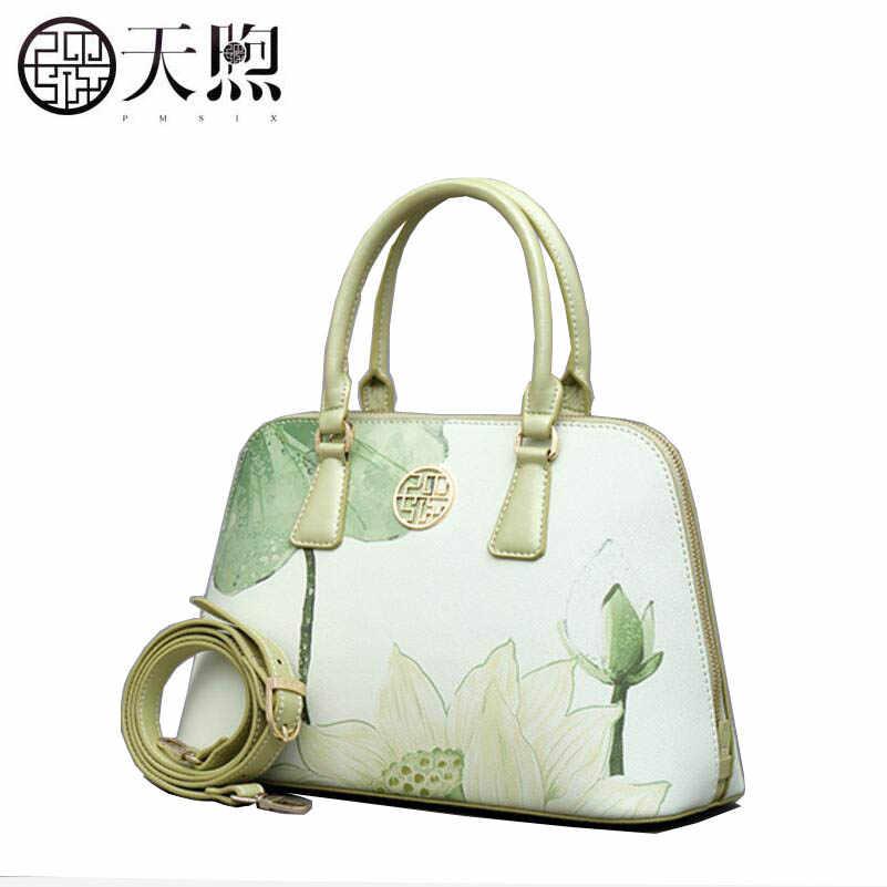 PMSIX 2020 جديد المرأة حقيبة الماركات الشهيرة موضة الطباعة الجلود الفن حقائب النساء حقائب اليد حقيبة كتف