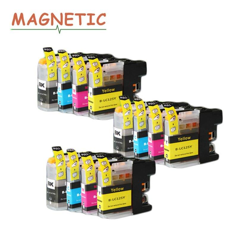 Чернила для принтера 12 шт. полный картридж LC127 LC125 чернил струйные картриджи для Brother MFC-J4610DW MFC-J4710DW DCP-J4110DW принтер