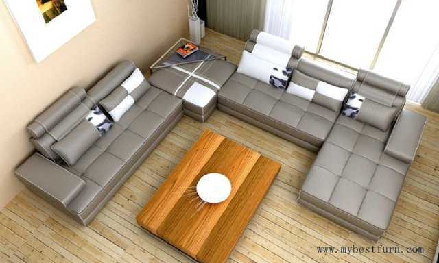 Elegant Leather Sofa Large Size U shaped couches, villa sofa genuine ...