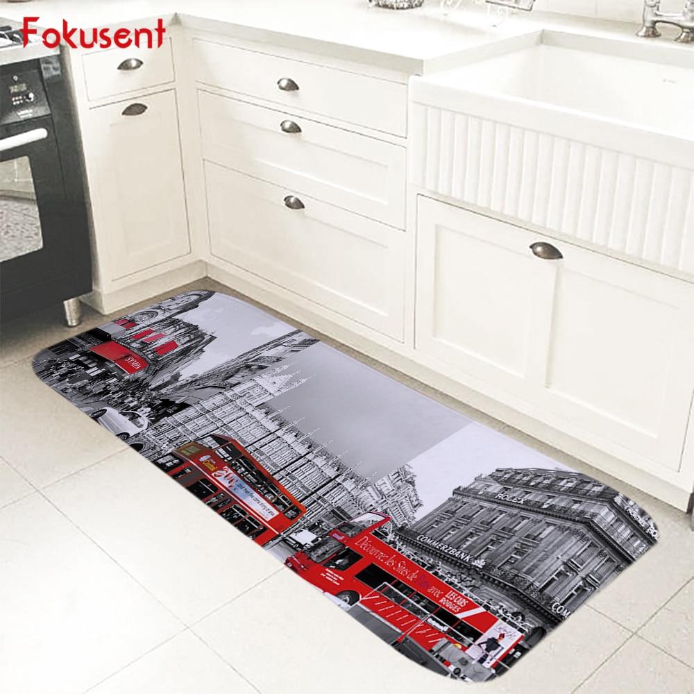 FOKUSENT World Famous Architecture Big Ben Arc de Triomphe Colosseum Flannel Carpet Tapete Rugs Floor Mat Doormat