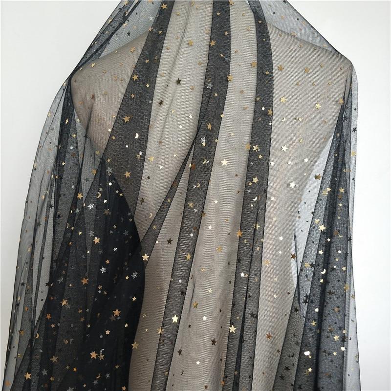 1 Stück 1,5*1 Meter Schwarz Sterne Mond Afrikanische Spitze Stoff Für Kinder Kleider Französisch Tüll Spitze Stoffe Für Diy Dekoration Hintergrund Auswahlmaterialien