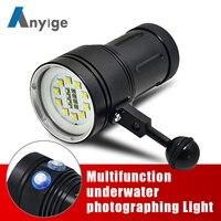 ANYIGE мощный подводный фонарь светодиодный 10 * XML L2 + 4 красный + 4 + ультрафиолет Подводные 100 м видео Дайвинг вспышки лампа подводное погружение