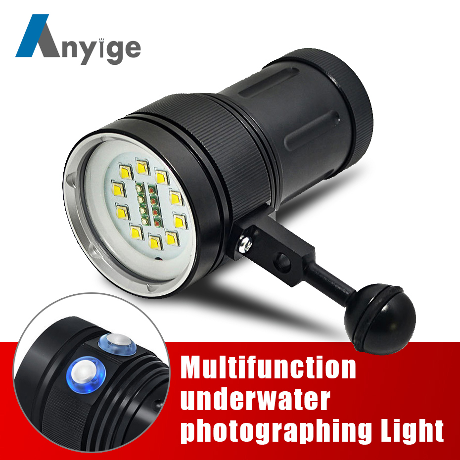 ANYIGE Powerful Diving Flashlight Torch LED 10*XML L2+4 Red+4 UV Light Underwater 100M Video Diving Flash Lamp Scuba Dive Light high powerful xml l2 scuba diving light led torch underwater video diving flashlight lamp waterproof linterna led dive lights