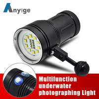 ANYIGE Powerful Diving Flashlight Torch LED 10*XML L2+4 Red+4 UV Light Underwater 100M Video Diving Flash Lamp Scuba Dive Light