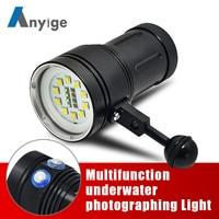 Anyige мощный фонарь для дайвинга фонарик светодиодный 10 * XML L2 + 4 красный + 4 ультрафиолетового света подводный 100 м видео вспышка для подводного