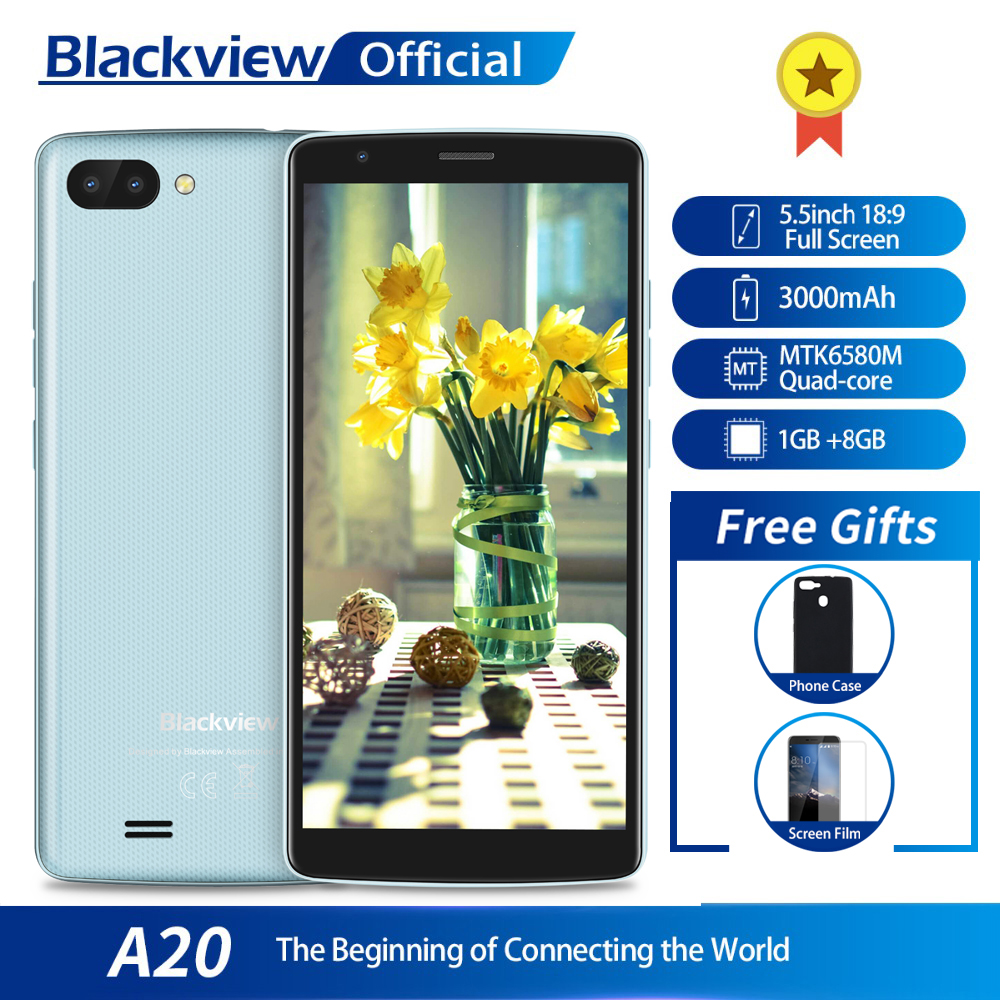 Blackview A20 Smartphone 1GB RAM 8GB ROM MTK6580M Quad Core Android GO 5.5inch 18:9 Screen 3G Dual Camera Mobile Phone smartphone