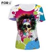 FORUDESIGNS Harajuku Women Summer T Shirt Punk Colorful Graffiti Skull Head Print Girl Short Sleeve Top
