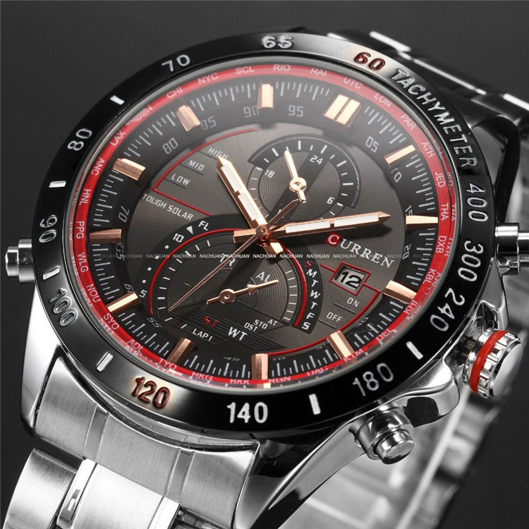 CURREN brand Fashion Auto Date Display Black Stainless Full Steel Strap Male Clock Men Wristwatch Quartz