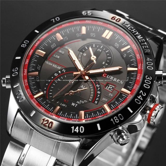 Marca de Moda CURREN Auto Fecha Display Negro Completo Correa de Acero Inoxidable Reloj Masculino Hombres Reloj de Cuarzo Reloj Del Deporte A Prueba de agua