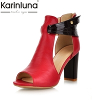 Karinluna Plus Size 33 43 High Heels Brand Shoes Woman Fashion Genuine Leather Peep Toe Party