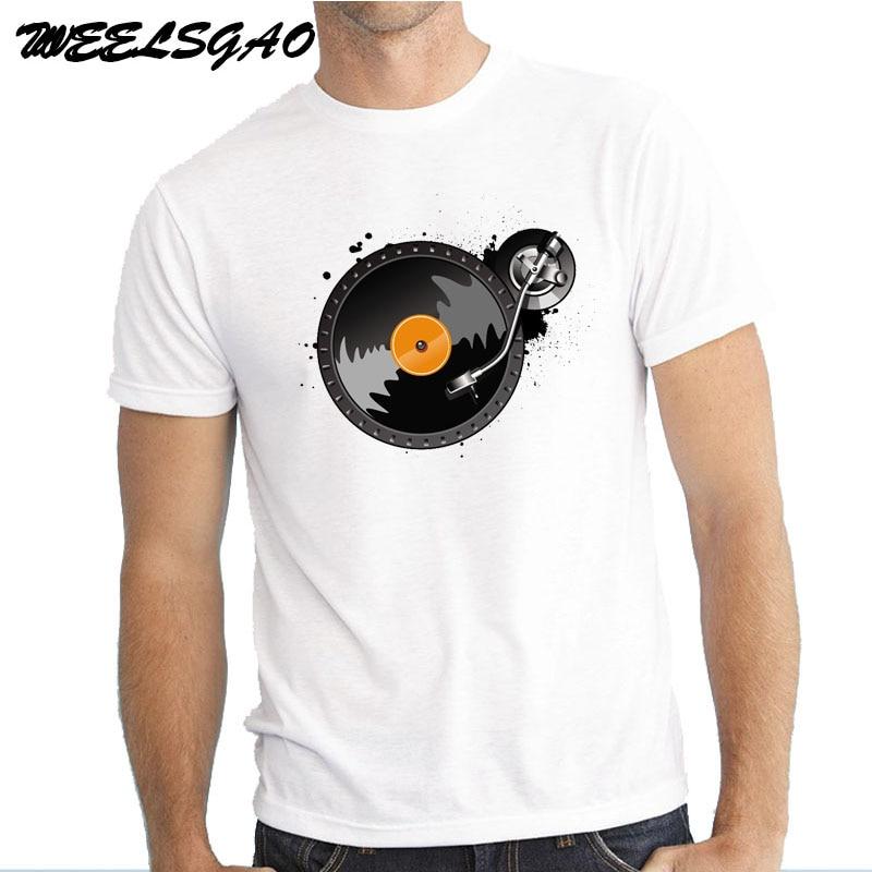 WEELSGAO Hip Hop Novelty T Shirts MenS Brand Clothing Mens Music Dj Turntable Club T-Shirt