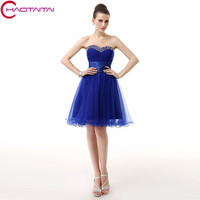 Prom Dress 2018 New Elegant Real Photos Royal Blue Short Homecoming Dresses Evening Party Beautiful Sweetheart Neck Gown