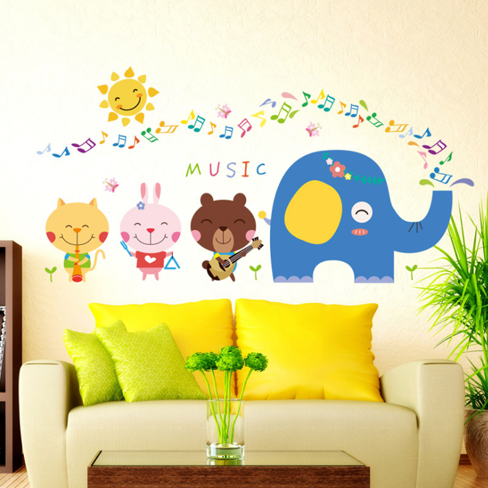 Cartoon Animals Elephant Music Notes Wall Decal Home Sticker Paper ...