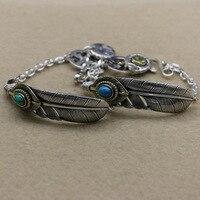 Plata tailandesa parejas joyería primera S925 plata esterlina plumas turquesa Nepal pulsera brazalete