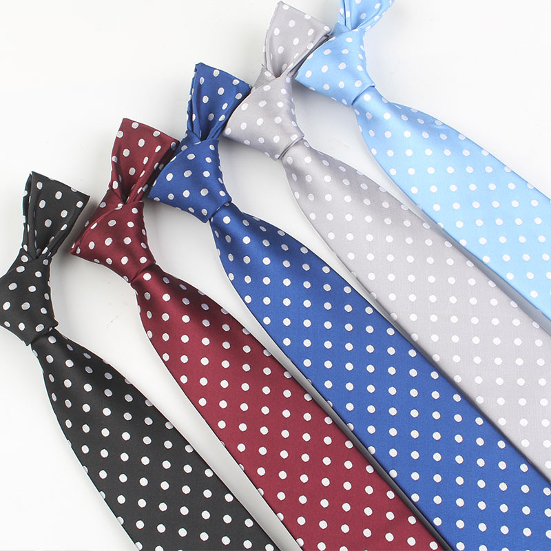 8 Cm Men's Skinny Fashion Dot Neckties Men Slim Polyester Neck Tie Polka Dot Man Polyester Jacquard Neckies For Gentlemen