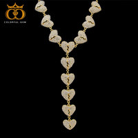 Mens Fashion White Gold Heartbreak Chain Necklace Heart Pendant Full Rhinestones Iced Out Jewelry Street Style Hiphop
