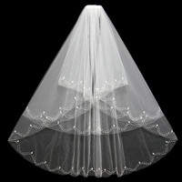 Real Photos White Ivory Wedding Veil Short With Comb Beaded Mantilla Bridal Veil Wedding Accessories Veu De Noiva