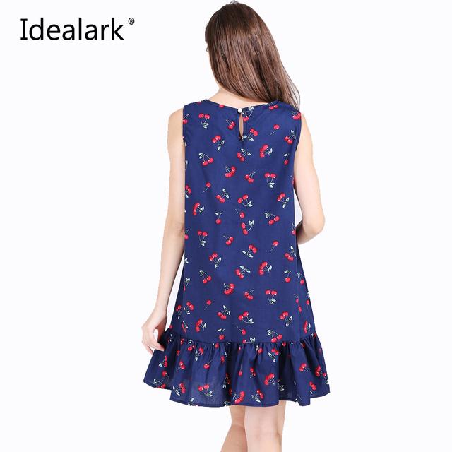 Idealark 100% coton sans manches sexy ruches femmes dress summer casual une ligne beach party dress vestidos wc0589